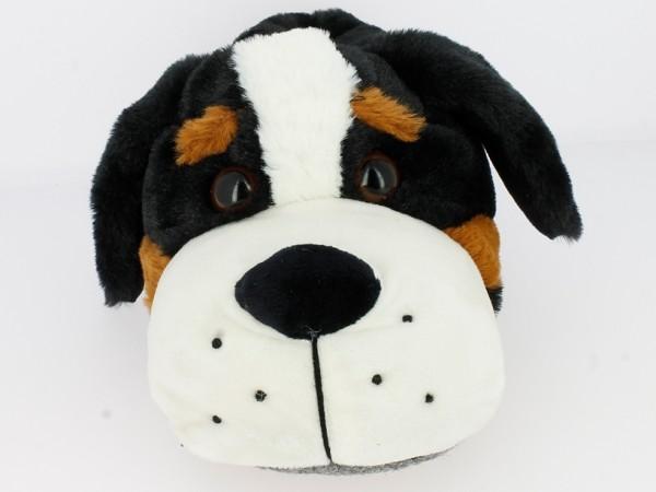 .He.-Tierhausschuh, Hund, Textil-Sohle, schwarz-beige-braun
