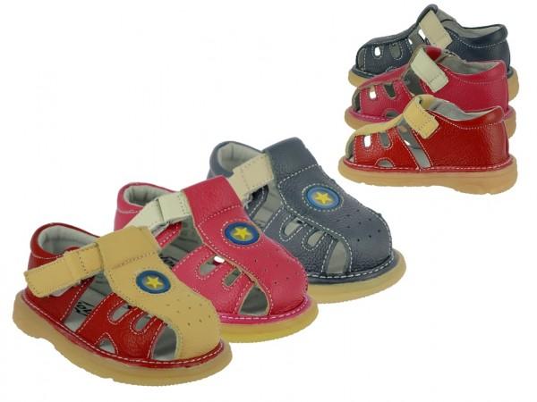 Ki.-Sandalette, Leder, 1 x Klett, vorn+hinten zu, Lederinnensohle, TPR-Sohle, rot-gelb + navy-beige
