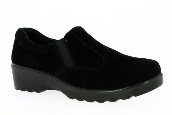 .Da.-Schuh, PU-Sohle, Slipper, 2x Gummizug, Warmfutter, Velour, schwarz