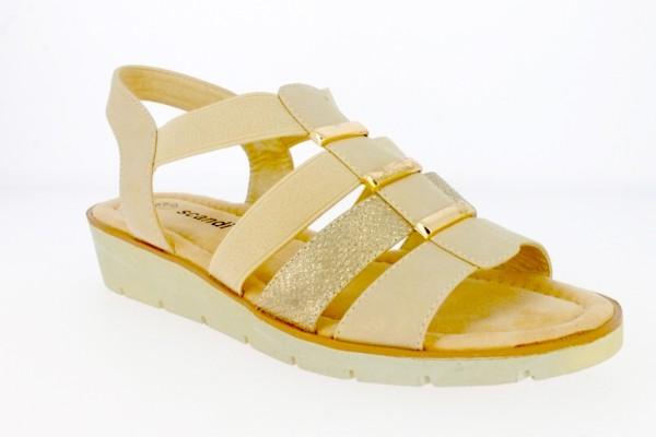 .Da.-Sandalette, PU-Sohle, Gummizug mit Sling, PU, beige-gold