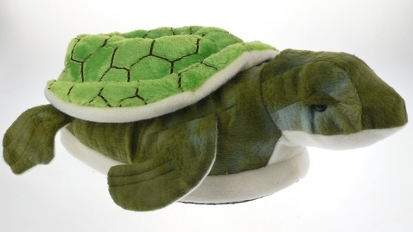.He.-Tierhausschuh, Schildkröte, Noppen - Textil-Sohle, Doppelgr., plüsch, grün