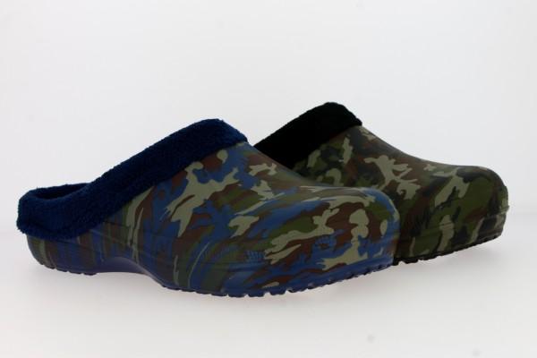 .He.-EVA Clogs, ohne Riemen, Warmfutter, Camouflage, navy+schwarz