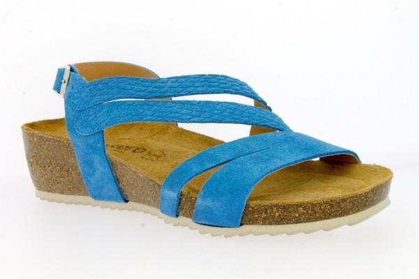 .Da.-Sandalette,Sp.,PU-Sohle,Riemchen,Fesselriemen mit Schnalle, Lederinnensohle, Wildleder, blau