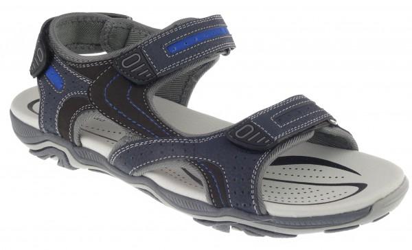 .He.-Sandalette, TPR-Sohle, 2 x Klett, Klett hinten, Nubuk-PU, navy-blau