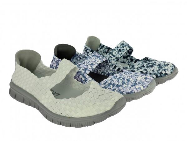 .Da.-Freizeitschuh, geflochtenes elastisches PU, Riemen, graue EVA-Sohle, weiß + grau-weiß + blau