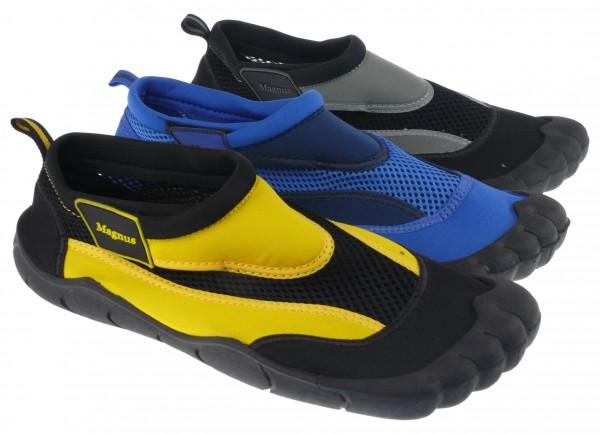 .He.-Badeschuh, TPR-Sohle, Klettverschluss, Polyester, blau-navy + schwarz-gelb +schwarz-grau