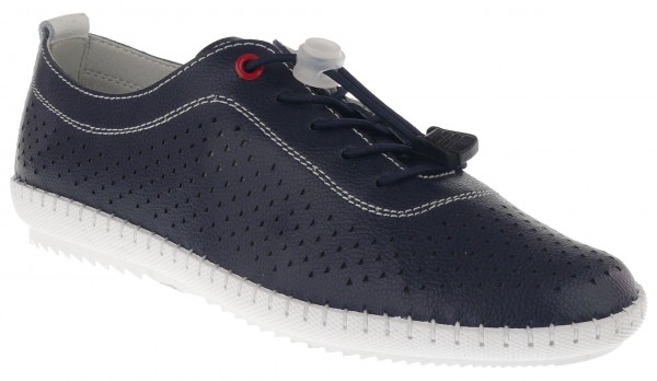 .Da.-Schuh, Gummi-Sohle, Elastikschnürung, Lederinnensohle, mit Löchern, Leder, navy