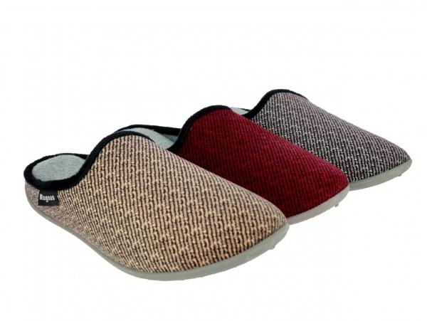 .He.-Pantoffel, PVC-Sohle, gemustertes Textil, grau + braun + bordeaux