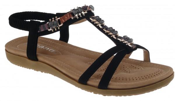 .Da.-Sandalette, TPR-Sohle, Ziersteine, Fesselriemen mit Gummizug, PU, schwarz