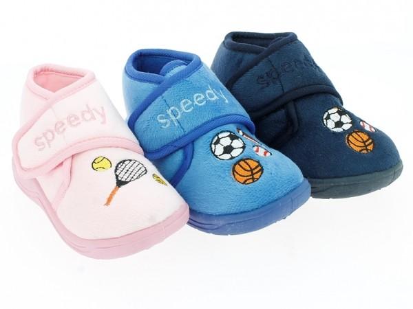 .Ki.-Hausschuh, TPR-Sohle, Klettverschl., Stickerei mit Bällen + Tennisschläger, Textil, pink + blau