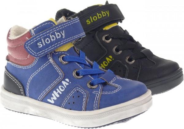 Ki.-Schuh, TPR-Sohle, seitl. Reißverschluss, Gummizug, Klettverschluss, PU, schwarz + blau