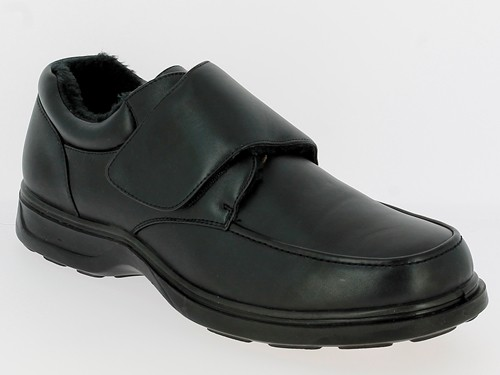 .He.-Schuh, PU, 1 x Klett, gefüttert, PU-Sohle, sc
