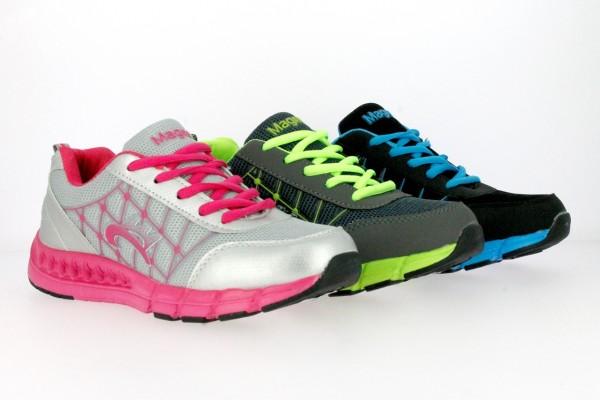 .Da.-Sportschuh, PU+Mesh, Schnürer, EVA-Sohle, grau-grün+schwarz-blau+silber-pink