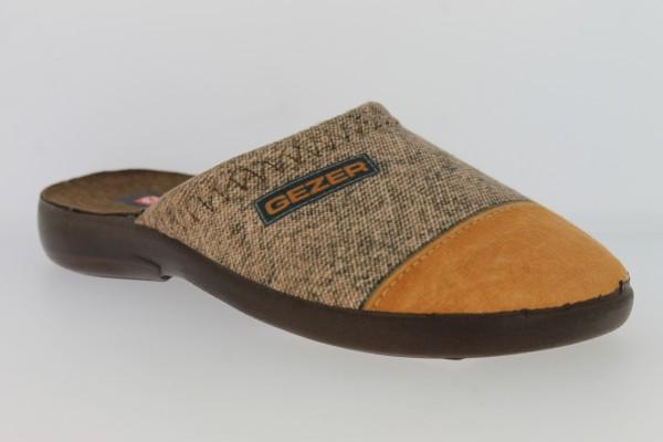 .He.-Pantoffel, TR, Textil, PU-Sohle, grau-h.braun