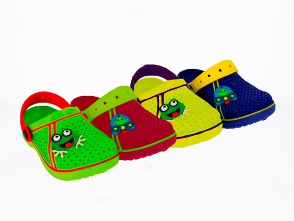 .Ki.- EVA-Clogs, mit Riemen, EVA-Sohle, mit Sticker, mit kl.Löcher, grün-rot+blau-gelb+rot+grün+gelb