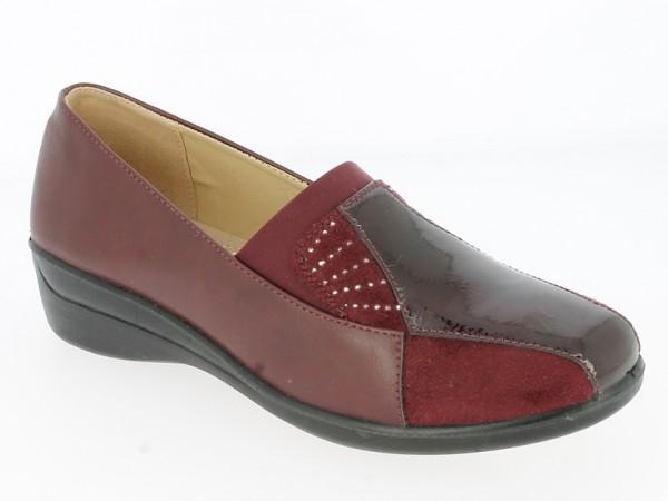 .Da.-Schuh, Slipper, PU-Sohle, breiter Gummizug, mit Ziersteinen + Lack vorn, PU, bordeaux