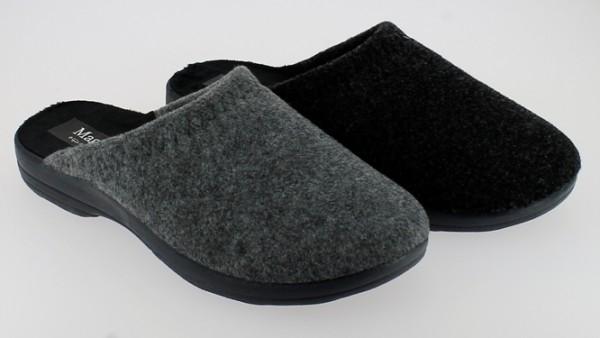 He.-Pantoffel, TR, Filz, graue PU-Sohle, grau+schwarz