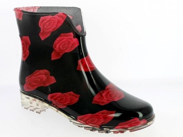 .Da.-Regenstiefelette, PVC-Sohle, mit roten Rosen, PVC, schwarz