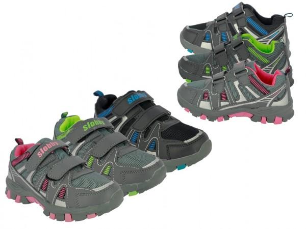 .Ki.-Sportschuh,TPR-Sohle, 2 x Klett, PU+Mesh, grau-fuchsia+grau-h.grün+schwarz-blau