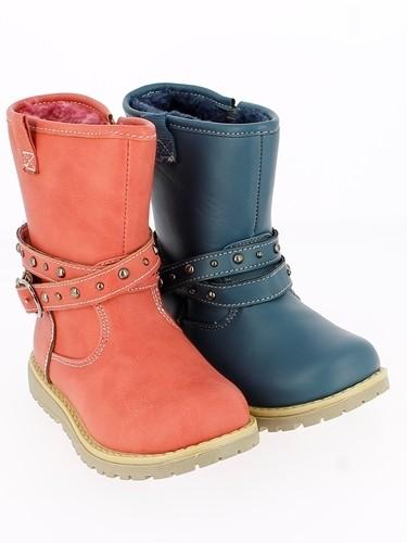 Ki.-Stiefel, PU, Reißverschluss, Zierband mit Schnalle, Warmfutter, TPR-Sohle, pink+blau