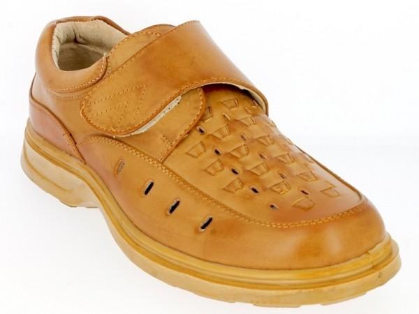 .He.-Schuh, 1 x Klett, PU, Lederfutter, beige, Box