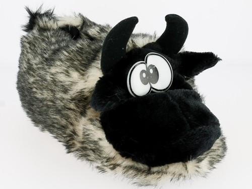 .He.- Tierhausschuh, Kuh, Noppen - Textilsohle, Doppelgr., schwarz-grau-weiß
