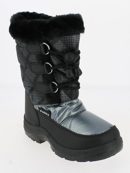 Ki.-Stiefel, PU, Reißverschluss + Band z.verstellen, Warmfutter, PVC-Sohle, Fellrand, schwarz-grau-