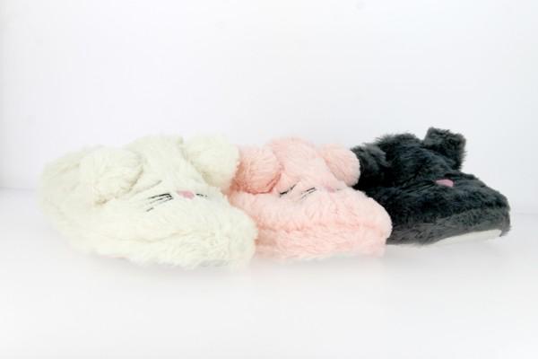 .Da.-Hausschuh, TPR-Sohle, Maus, Gummizug hinten, Plüsch, weiß+pink+grau