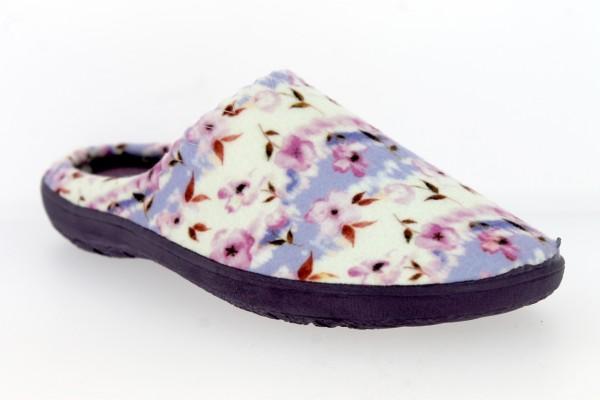 .Da.-Pantoffel, TR, Textil mit Blumen, PU-Sohle, lila-weiß