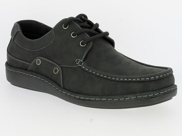 .He.-Schuh, Schnürer, PVC-Sohle, abgesteppt, PU, schwarz
