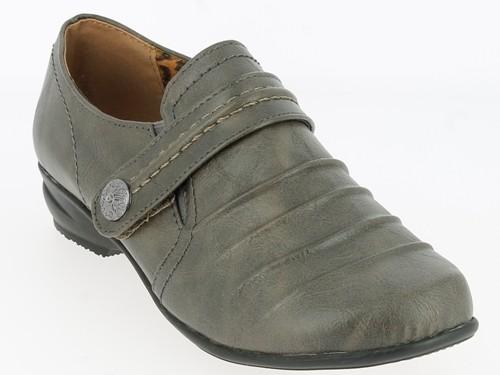 .Da.-Schuh, Slipper, PU, 2 x Gummizug, KLettverschl. mit Zierknopf, TPR-Sohle, grau