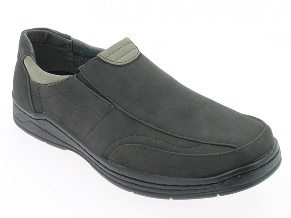 .He.-Schuh, PVC-Sohle, 2x Gummizug, Ziernähte, PU, schwarz-grau