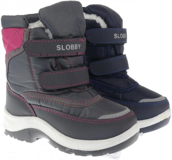 Ki.-Stiefel, PVC-Sohle, 2x Klettverschluss, Nylon, KAT-TEX, Warmfutter, blau + fuchsia