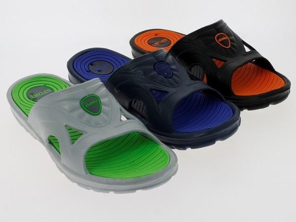 .He.-Badepantolette, EVA, 1 Bandage, grau-grün+navy-blau+schwarz-orange