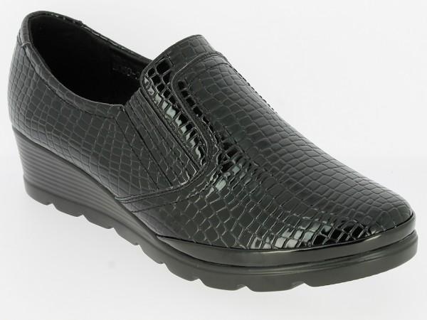 .Da.-Schuh, Slipper, PU-Sohle, 2 x Gummizug, Lack-PU, Kroko, schwarz