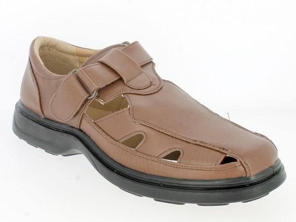 .He.-Schuh, 1x Klett seitl., PU, PU-Sohle, braun