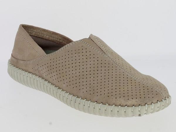 .Da.-Schuh, Gummi-Sohle, Slipper, 1x Gummizug vorn mittig, Lederinnenausst., geprägtes Leder, pastel