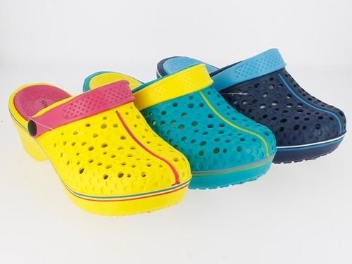 Da.-EVA Clogs, mit Riemen, herausnehmb. Innensohle, EVA-Sohle, gelb-fuchsia+grün-gelb+navy-blau
