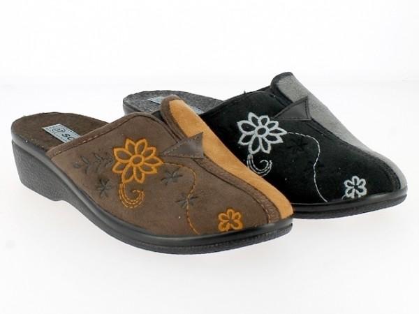 .Da.-Pantoffel, PU-Sohle, mit Blumen, kl. Gummizug mittig, Velour, h.braun-braun + schwarz-grau