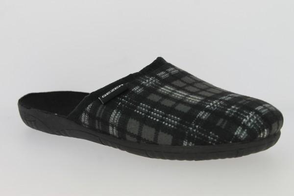 .He.-Pantoffel, TR, Textil, kariert, PVC-Sohle, schwarz-grau