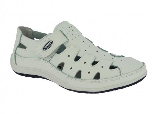 .Da.-Schuh, Leder, mit Lochmuster, Klettverschluss, Lederinnenausstattung, TPR-Sohle, weiß