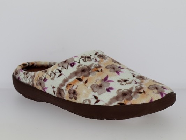 .Da.-Pantoffel, TR, Textil, PU-Sohle, braun-weiß