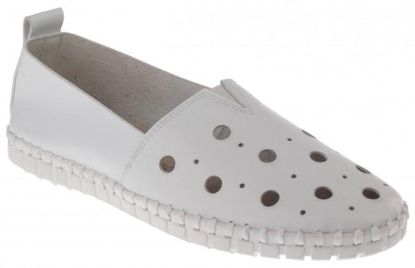 .Da.-Schuh, ultraflex. Gummisohle, Gummizug mittig, großes Lochmuster, Leder-Wechselsohle, PU, weiß