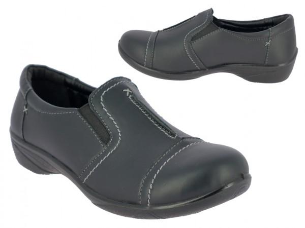 .Da.-Schuh, Slipper, PU, mit Ziernähten, 2 x Gummizug, PU-Sohle, schwarz