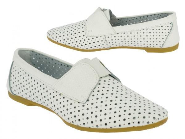 .Da.-Schuh, Gummizug, Leder, mit Löcher, Lederinnensohle, TPR-Sohle, weiß