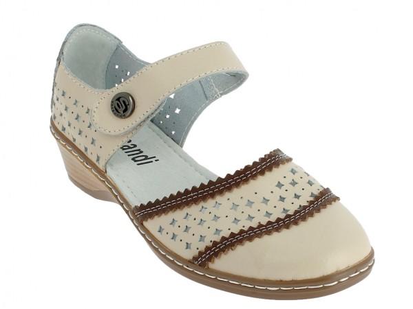 .Da.-Sandalette, Leder, vorn zu, Riemen mit Klett und Zierknopf, Lochmuster, PU-Sohle, beige-braun