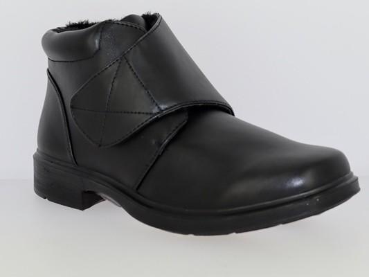 .He.-Stiefel, PU-Sohle, 1 x Klettverschl., schwarzes Warmfutter, PU, schwarz