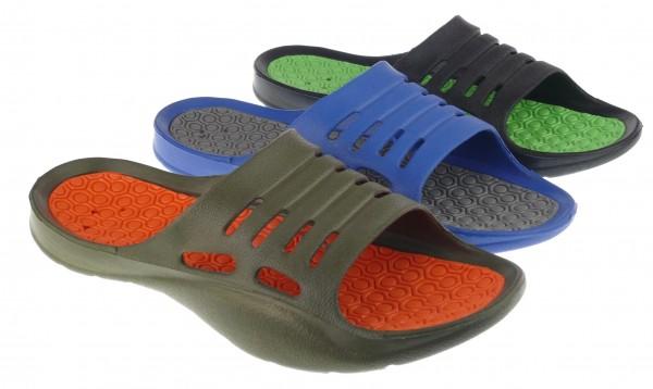 .He.-Badepantolette, EVA, 1 Bandage, khaki-orange+blau-grau+schwarz-grün