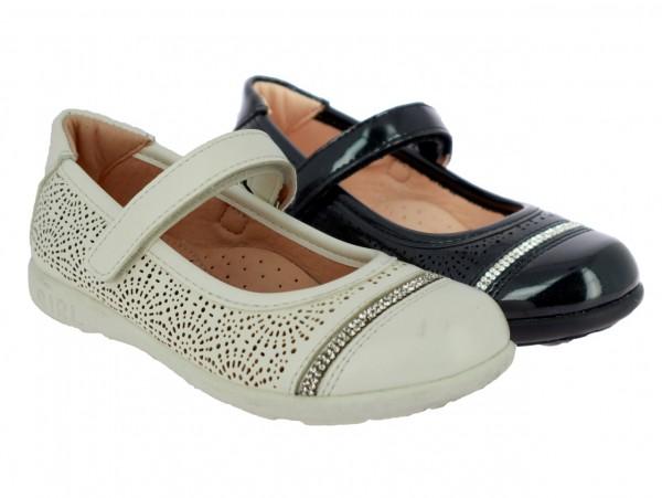.Ki.-Schuh, TPR-Sohle, Lochmuster, Riemen mit Klett, PU, weiß+schwarz