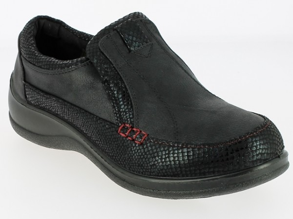 .Da.-Schuh, PU-Sohle, Slipper, PU/Microfiber m. Krokooptik, verdeckter Gummizug, schwarz